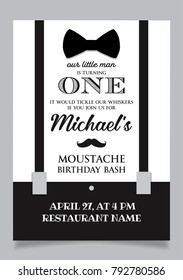 Little man one year birthday invitation card for moustache party.