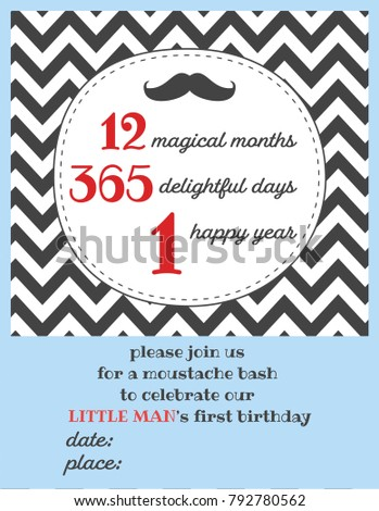Little man one year birthday invitation stock vector royalty free little man one year birthday invitation card for moustache party filmwisefo