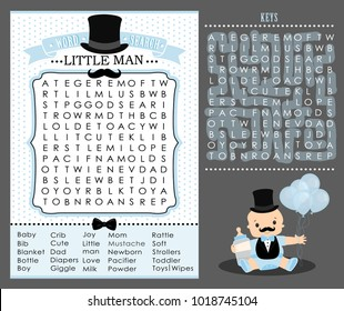 Little man party game (first birthday, baby shower) Word search puzzle. Cute blue and white vintage. Templates can used for invitation card, photo frame, decoration banner. Vector printable mustache.