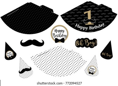 Little man printable hats. Black, white, golden mustache pattern. Print and cut. Vector cones template to head for a party (birthday, baby shower, it is a boy). Vintage modern style. First happy birth