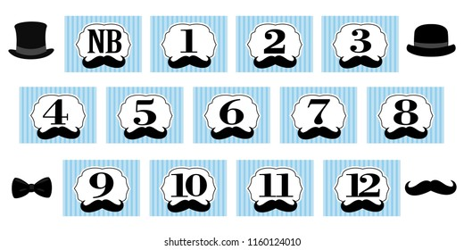Little Man theme. 1-12 months, newborn photo banner. First birthday party for gentleman. Blue backdrop with stripes, black hat, mustache and bowtie. Set of  vector frame for scrapbook and invite card
