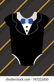 Little man tuxedo baby shower invitation card for boy