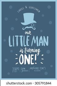 little man's birthday invitation card template vector/illustration