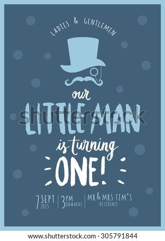 little mans birthday invitation card template stock vector royalty