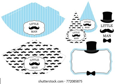 Little man's printable hats. Black and white mustache pattern. Print and cut. Blue vector cones template to head for a party (birthday, baby shower, it is a boy). Vintage modern style.