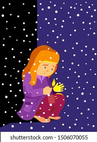 The Little Match Girl Fairy Tale Vectoral Illustration. For Children Books, Covers, Magazines, Web Pages and Blogs.