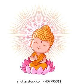 Little meditating Buddha on the lotus. Cartoon character. Vector cartoon illustration on a white background.