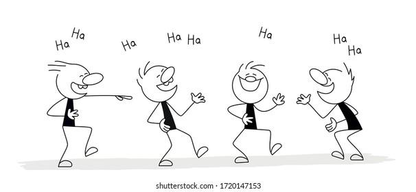 Little men laugh. Vector stickman cartoon character illustration.