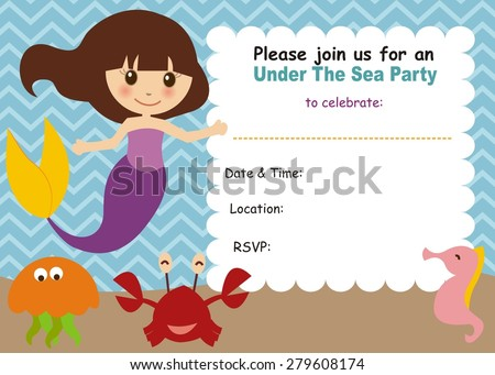 little mermaid birthday invitation stock vector royalty free