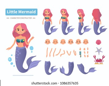 Little mermaid character constructor for animation. Front, side and back view. Flat cartoon style vector illustration isolated on white background.