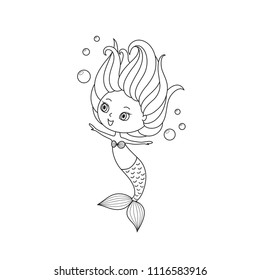 Little mermaid coloring book page, black and white cartoon drawing, baby girl theme, girlish vector illustration, cheerful cute character, for print, scrapbook, stamping, card, other children goods.
