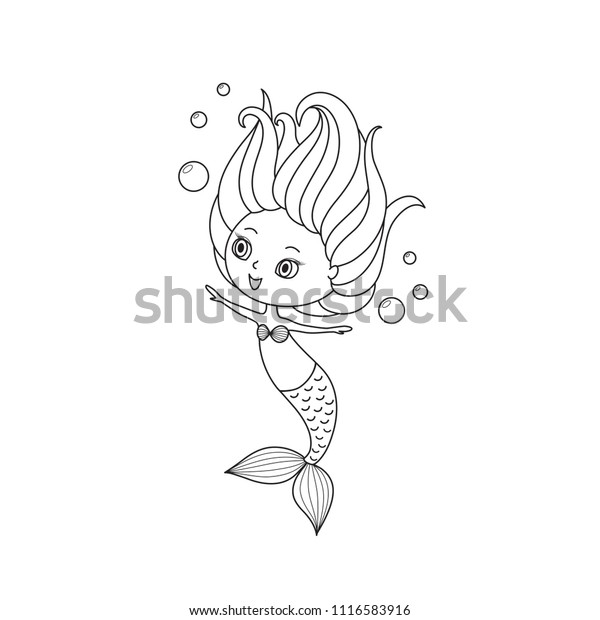 Little Mermaid Coloring Book Page Black Stock Vector (Royalty Free)  1116583916