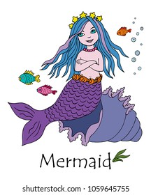little mermaid with fishes