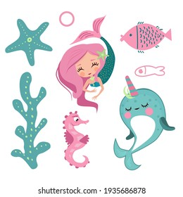 The Little Mermaid, Narwhal, fish, starfish and seahorse in cartoon children's style. set of vector images of marine-themed