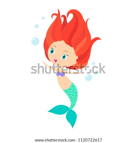 Little Mermaid With Red Hair Cute Cartoon Kids Vector Illustration Flat Isolated On White Background Pretty Sea Girl Dancing Bubbles For Birthday