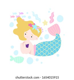 Сute little mermaid under the sea with fishes, corals and shell. Childish print perfect for poster, card, fabric, textile. Cartoon style vector illustration