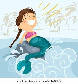 Little mermaid - vector illustration