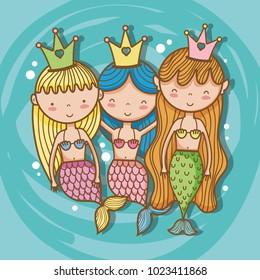 Little mermaids art cartoon