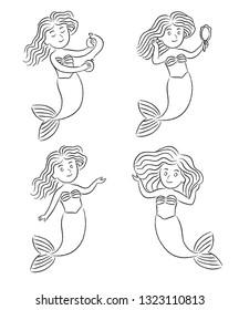 Little Mermaids beauty salon. Children's sea cosmetics.