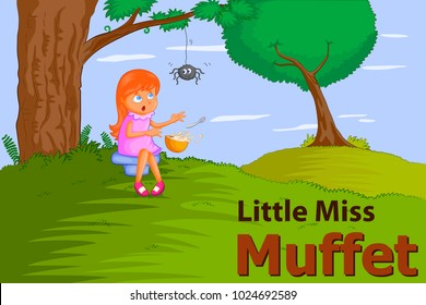 Little Miss Muffet, Kids English Nursery Rhymes book illustration in vector