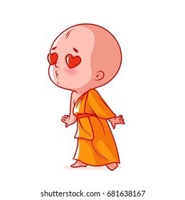 Little monk in love. Cute cartoon character. Vector cartoon illustration on a white background.