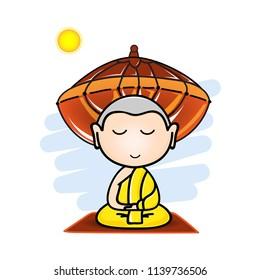 The little monk is meditation practice on white background. Vector illustration.