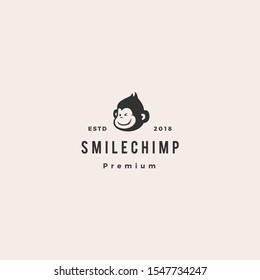 little monkey chimp logo hipster retro vintage vector icon illustration