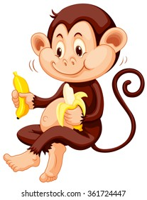 Little monkey eating bananas illustration