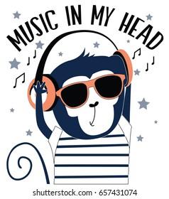 little monkey and music illustration vector for print design.