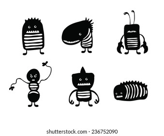 Little Monster character designs in black and white (vector format for easy manipulation and no loss of quality).