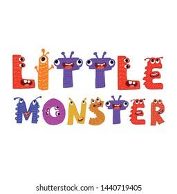 Little monster cute vector design for kids