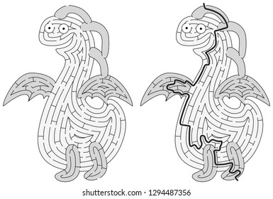 Little monster maze for kids with a solution in black and white