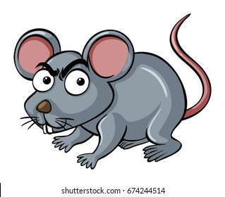 Little mouse with angry face illustration