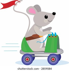Little Mouse having a ride on a rollerskate