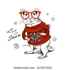 Little Mouse in a red knitted pullover with snowflake and in a glasses. Let it snow – lettering quote. Christmas and New Year card, t-shirt composition, handmade vector illustration.