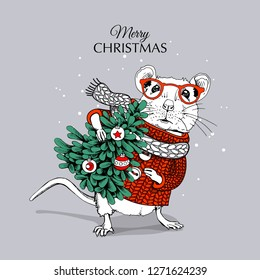 Little Mouse in a red striped pullover and white scarf with fir tree. Merry Christmas – lettering quote. New Year card, t-shirt composition, handmade vector illustration.