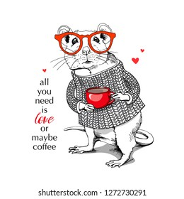 Little Mouse in a white knitted pullover, in a glasses, with red cup. All you need is love or maybe coffee – lettering quote. Vector illustration.