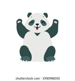 Little panda. Cute illustration of a happy baby panda sitting with its paws up isolated on a white background. Vector 10 EPS