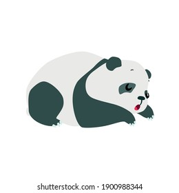 Little panda. Cute illustration of sleeping baby panda isolated on a white background. Vector 10 EPS