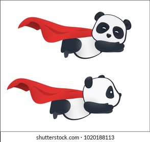 Little panda super hero flies in the air with a red cloak. Isolated on white background