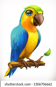 Little parrot cartoon character. Funny animal, 3d vector icon