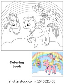 Little Pegasuses comb the pony's mane. Cute pony on cloud. Cartoon book vector illustration. Coloring book for children.