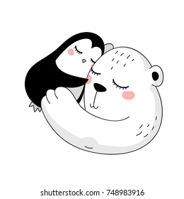little penguin and big smiling white bear are in love, hugging each other,  isolated childish girly illustration for t-shirt, phone case, mugs, baby shower,wall art, new year or christmas cards