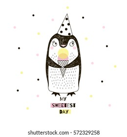 little penguin with ice cream, doodle nursery art