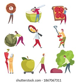 Little People Characters Holding and Carrying Foodstuff Like Doughnut and Sandwich Vector Illustration Set