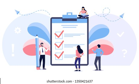 little people fill out a form, modern concept for web banners, infographics, websites, printed products. Concept done job, checklist, long paper document and to do list with checkboxes