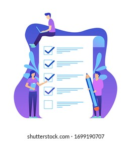 little people fill out a form, modern concept for web banners, infographics, websites. Concept done job, checklist, long paper document and to do list with checkboxes