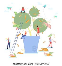 Little people and money tree. Bitcoin. Vector illustration.