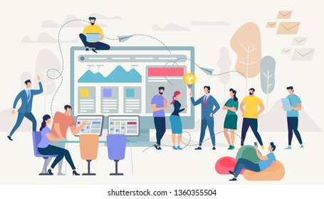Little People Moving at Huge Monitor with Graphs and Charts. Freelance Group of Coworkers Work Together by Gadgets. Man Doing Presentation. Guy on Beanbag Chair. Cartoon Flat Vector Illustration