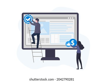 Little people put a mark of quality and inexpensiveness on the website template. Young man and girl create a website template. Web design concept. Vector flat illustration